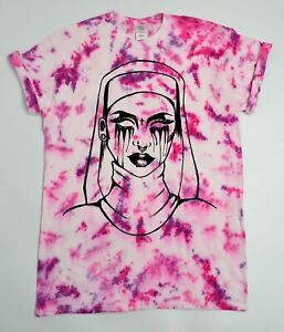 Nun-Tie-Dye-T-Shirt-UNISEX-Festival-Grunge-Metal-Emo-Hipster-Summer-Meme-Trippy