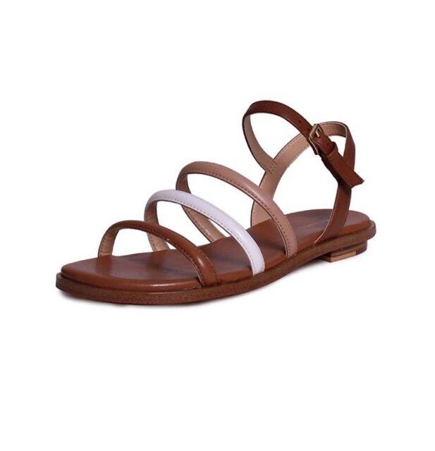 1e1e9026abde MICHAEL KORS 5.5 M Nantucket Luggage Toffee White Beige Tan Leather Flat  Sandals