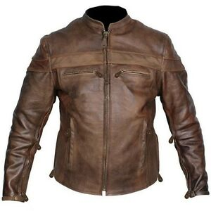 Mens TALL size retro brown buffalo hide cafe leather motorcycle ...