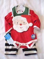 Bon Bebe 0-3 Months 3 Pc Santa Long Sleeve Bodysuit Pants Bib Christmas