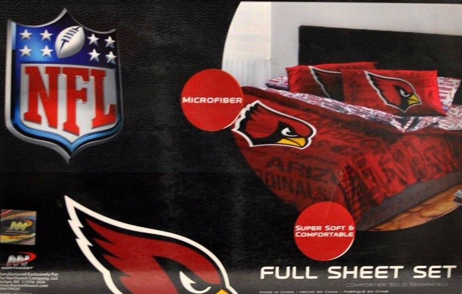Arizona Cardinals Sheet Set NFL Full Bed Fitted Flat Sheets Boys Team Bedding