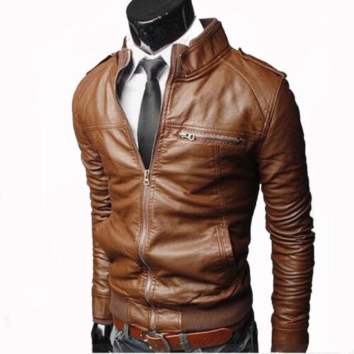 Herren PU Leder Jacke Bikerjacke Kurzjacke Übergangsjacke Lederjacke Streetwear