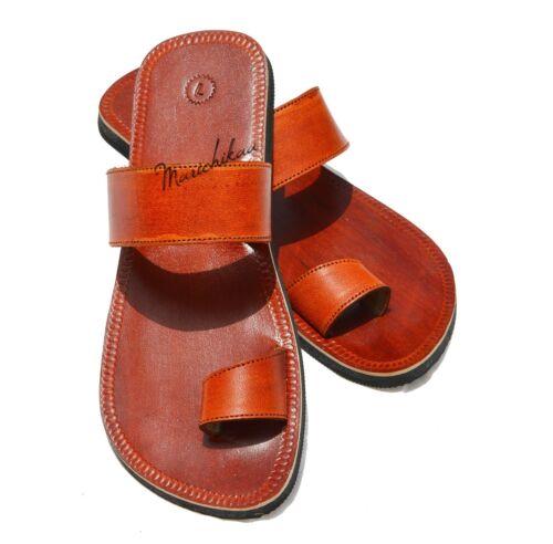 Men Leather Sandals Handmade Gents Brown Toe Ring Slipper Flip Flops UK 6-11