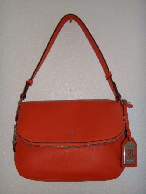 2d674757b4cb RALPH LAUREN Harrington Women s Flap Shoulder Bag Purse Orange Leather  Silver