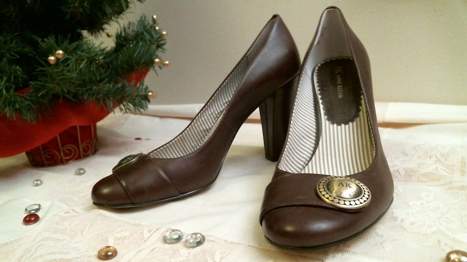 AK BROWN ANNE KLEIN size 8 1/2 M BROWN AK LEATHER slip on pumps 7ecd13