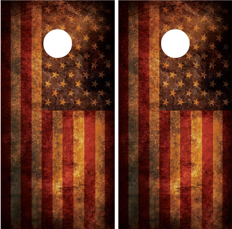 American Flag Distressed Rust Grunge Cornhole Board Wraps Decals Skins