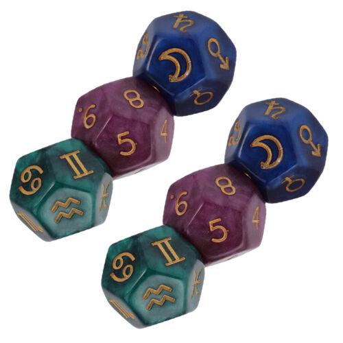 6pcs//Set D12 12-Seitige Astrologische Würfel für Konstellation Divination
