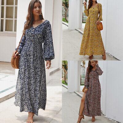 Robe Longue D Ete Sexy A Col En V A Manches Longues Et Fente Laterale Pour Femme Ebay