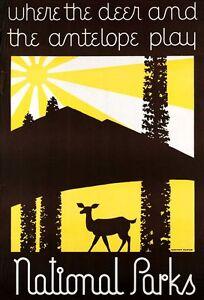 """Vintage Illustrated Travel Poster CANVAS PRINT US National parks Deer 24""""X18"""""""