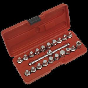 Sealey-Oil-Drain-Plug-Key-Set-21pc-3-8-034-Sq-Drive-Garage-Workshop-DIY