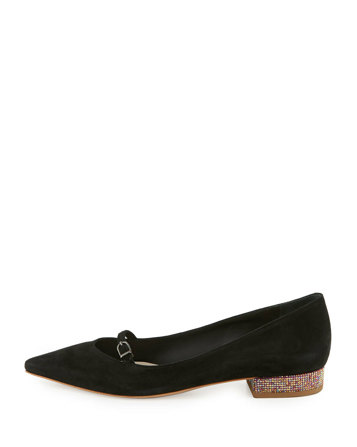Sophia Sophia Sophia Webster Piper Suede Pointed-Toe Flat, Black msrp   445 Size 38.5 6c148d