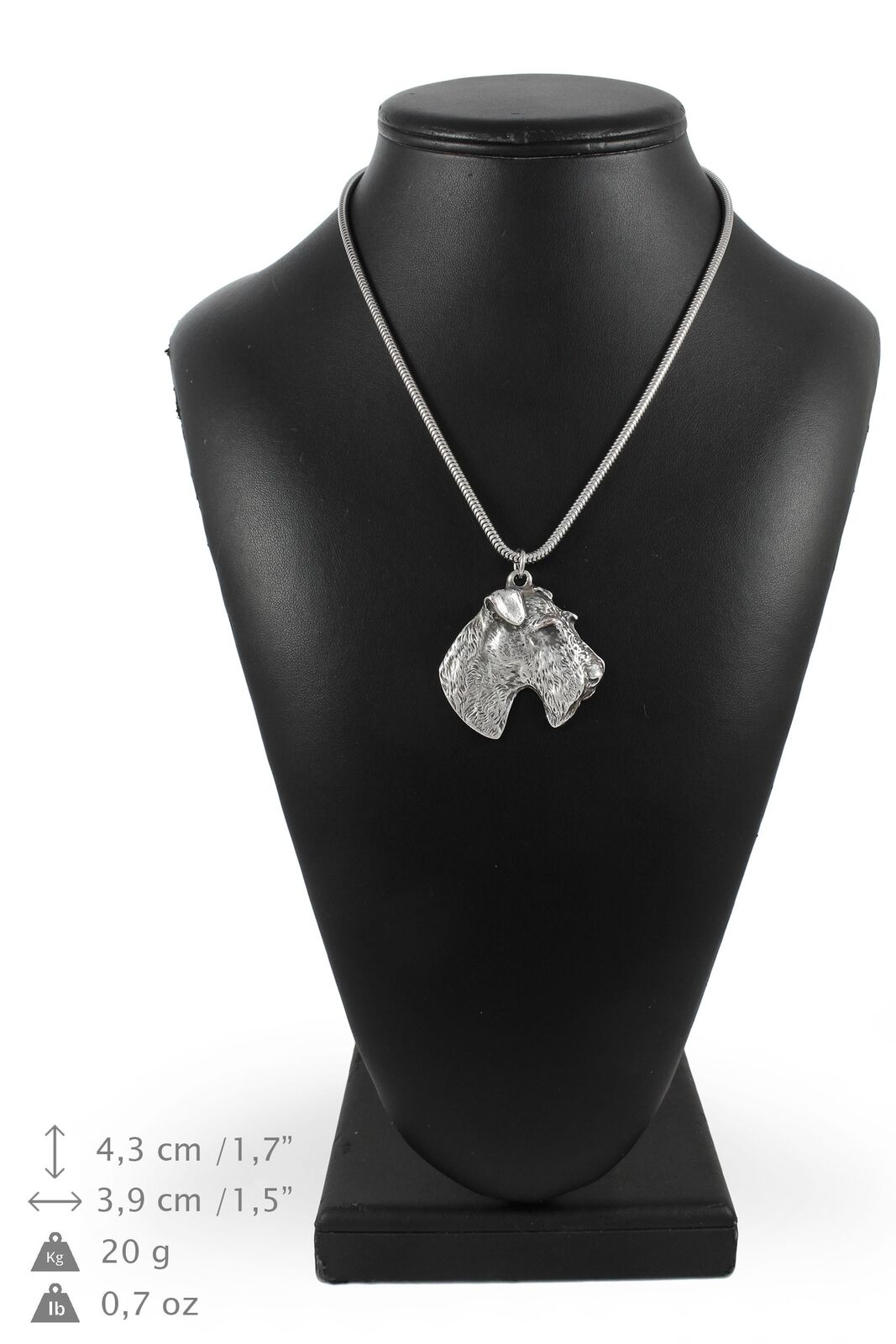 Foksterier - Silber plated necklace with Silber cord, high quality, Art Dog