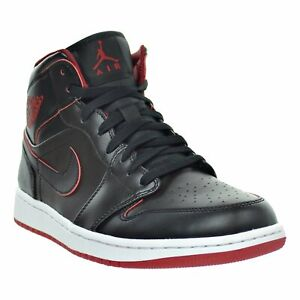 85caadbca796 AIR JORDAN 1 MID Mens Black Black-White-Gym Red 554724-028 ...