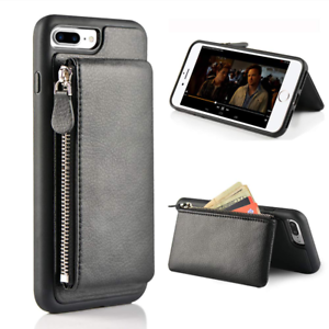 sports shoes f0cb1 6f1bf Details about iPhone 7 Plus Zipper Wallet Case, 8 Stand Leather, LAMEEKU  Shockproof Apple 7 Cr