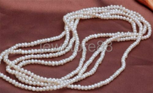 Natural pearl 100/% Real pearl White 4-5mm highlight Necklace 50 inch