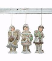 Christmas Village Figures Set Of 3 Village Children Kids Ornaments 5 Tall