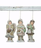 Christmas Village Figures Set Of 3 Village Children Kids Ornaments 5 Tall