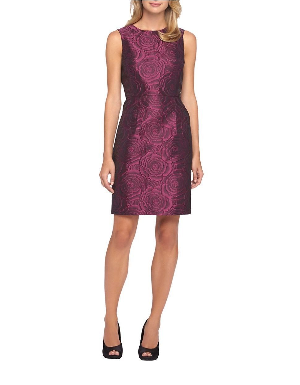NWT Tahari Woherren lila Rosa Jacquard Sheath Dress w Slant Pockets  Retail