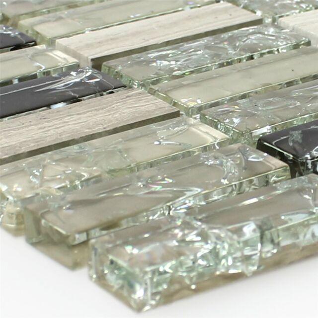 Glas Naturstein Mosaik Fliesen Stäbchen Bruchglas Grün