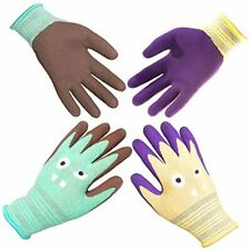 2 Pairs Kids Gardening Gloves For Ages 2 12 Comfortable Rubber Coated Medium