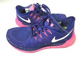 ea9341821bf4 Details about Nike Free 5.0 Size 6.5 Womens Sneaker Shoe Cobalt Blue Pink  Running VGUC