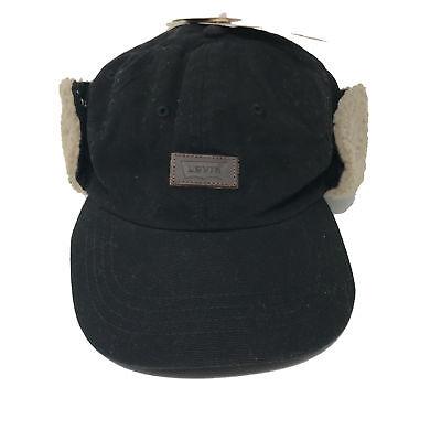 NEW Levi s Men s S   M Waxed Hunter Trapper Hat With Faux Sherpa Ear Flaps  Black 3b3e2eabaaa9