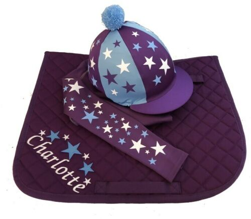 GGGear Purple// Sky Blue//White Cross Country Colours Horse Riding Set
