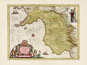 Old Vintage Salerno Region Italy Decorative Map Blaeu Ca 1655 Ebay