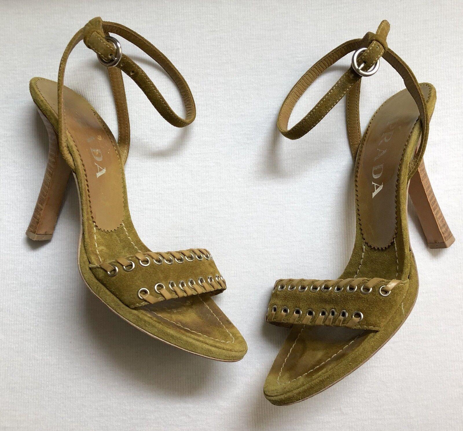 Prada Suede Leder Green Yellow Ankle Strap Open Toe Sandale Heels Größe 37 7