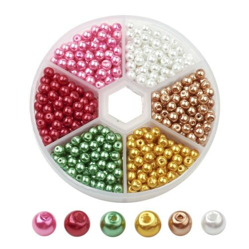 1 Box Pearlized Glass Pearl Bead Sets DIY Jewelry Crafts Beads Mixed Color 4mm
