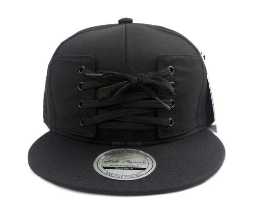 NEW *LACE* SNAPBACK CAP BLACK PLAIN BASEBALL HIP HOP ERA FITTED FLAT PEAK HAT