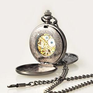 Schwarz-Doppelsavonnette-Meschanisch-Handaufzug-Herren-Uhr-Taschenuhren