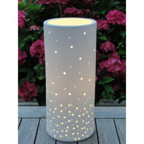 Tischlampe Leuchte PUNKTE Porzellan weiß Zylinder H 37cm Ø 15cm Kerzenfarm Hahn
