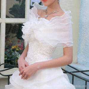 117159b8f68 Image is loading White-Ivory-Organza-Bolero-Coat-Wedding-Accessories-Bridal-