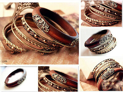 Unique Style Retro Multi-Layer Delicate Carved Wood Multi Hand Bangle Bracelets