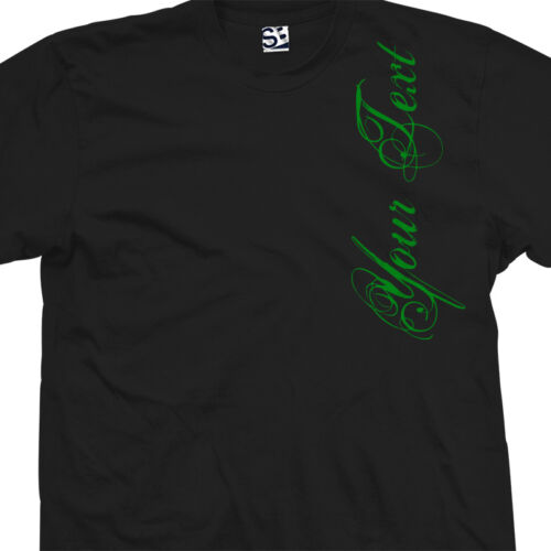 Personalize Your Text All Sizes /& Colors Custom Distressed Script VERT Shirt