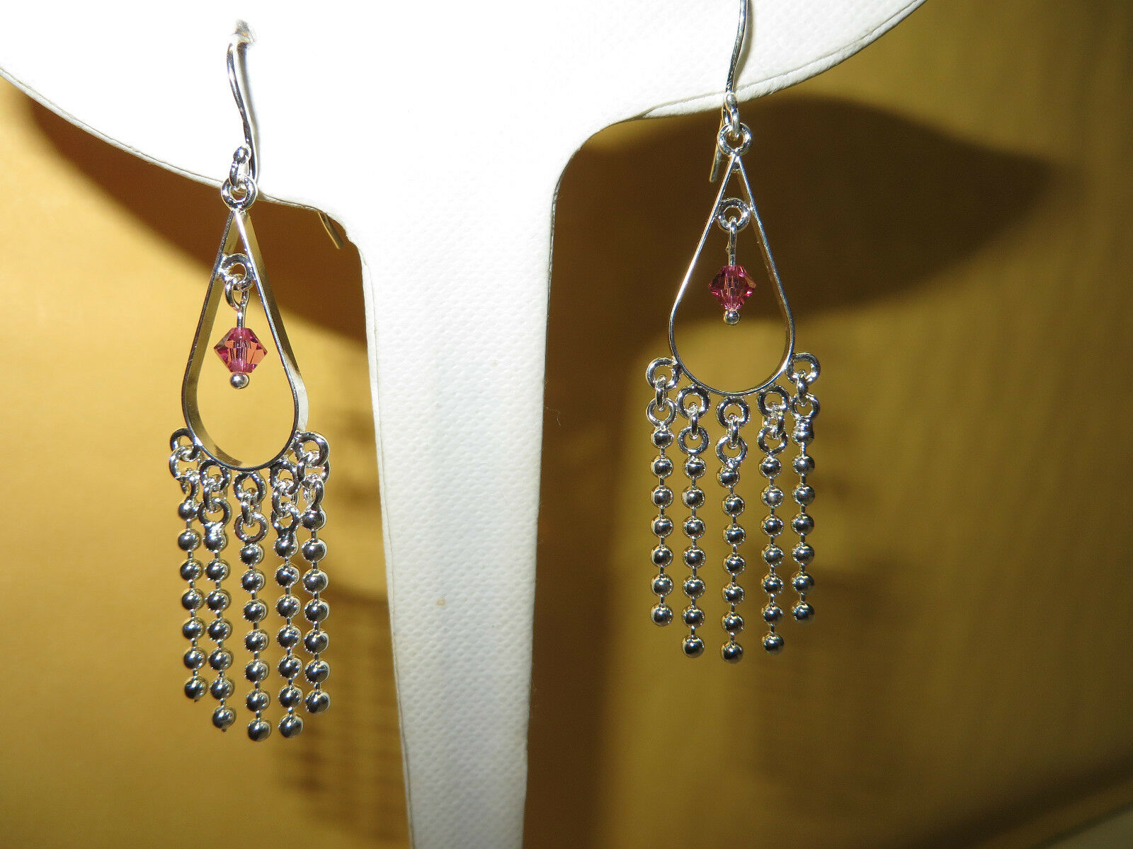 Triangle Shaped w Crystal Dangle 2 1 4 inch Earrings .925 Sterling 4.5 Grams