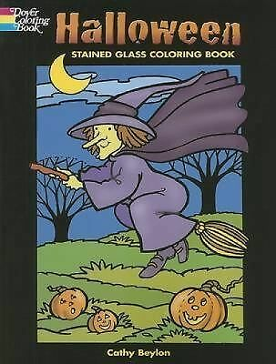 Halloween Stained Glass Coloring Book by Cathy Beylon (2007, Paperback)