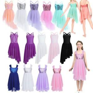 Kids-Girls-Lyrical-Latin-Ballet-Dance-Dress-Sequins-Gymnastic-Ballroom-Dancewear
