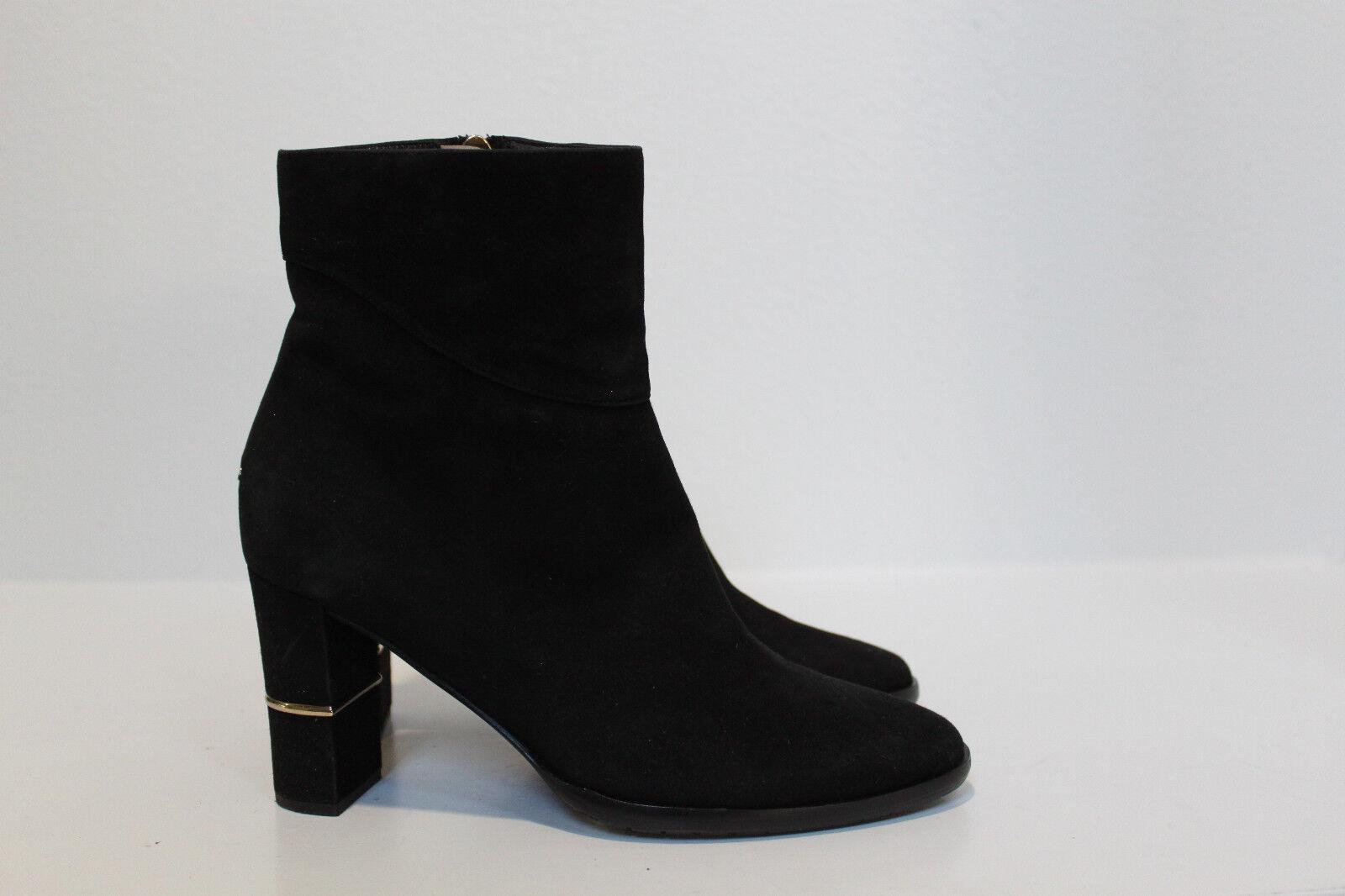 sz 7 / 37 Jimmy Choo Black Suede Marcia Zip Side Block Heel Ankle Bootie Shoes