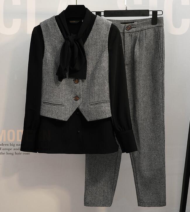 3 PCS Women's Formal Suit Vest Shirt Pants Bowknot OL Lady Suit Large