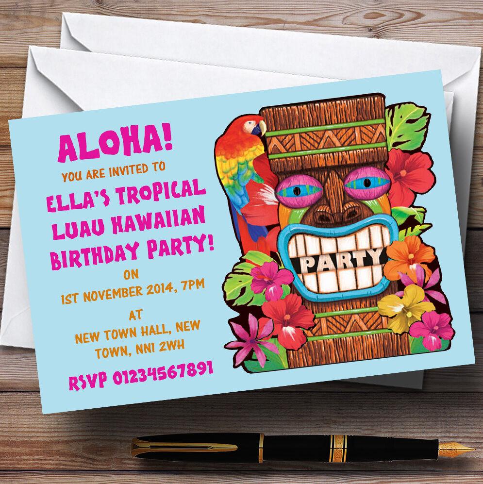 Aqua Tropical Luau Hawaiian Personalizado Fiesta Invitaciones