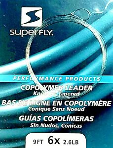 Superfly 6x Tapered Fly Fishing Leader (3 per package)