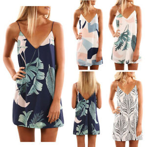 NWT-Women-Fashion-Sexy-Tropical-Palm-Print-Short-Boho-Summer-Beach-Dress