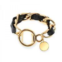 Wink Wild Eye Designs Bracelet Bottle Opener Art Deco Black Leather W/gold Links