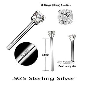 2pcs-20G-2mm-CZ-Prong-Set-925-Sterling-Silver-Straight-Nose-Ring-Stud