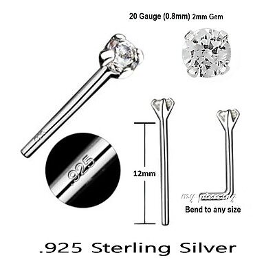 2pcs 22g 1 5mm Ball 925 Sterling Silver Straight Nose Stud