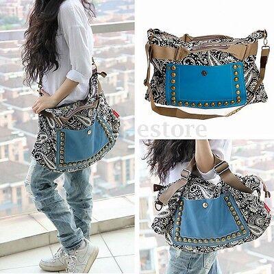 Women Vintage Canvas Leather Satchel Tote Messenger Shoulder Bag Handbag Shopper