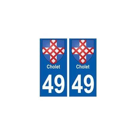 49 Cholet blason autocollant plaque stickers ville -  Angles : droits