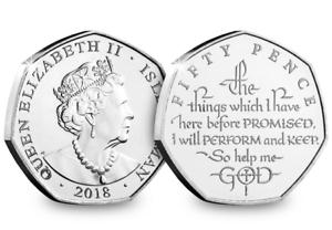 Die Krönung Eid Fünfzig Pence Münze 2018 50p Neue Version Ref